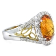 .84ct Diamond and Citrine 18k Two Tone Gold Ring