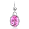 .50ct Diamond and Pink Zircon 18k White Gold Pendant