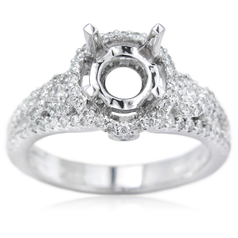 58ct Diamond Platinum Halo Engagement Ring Setting