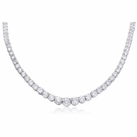 17.22ct Diamond 18k White Gold Graduated Necklace