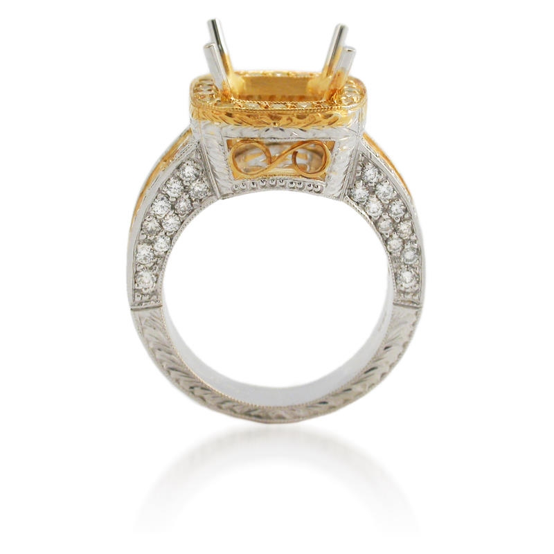 81ct antique style 18k two tone gold halo