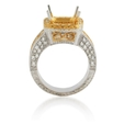 .81ct Diamond Antique Style 18k Two Tone Gold Halo Engagement Ring Setting