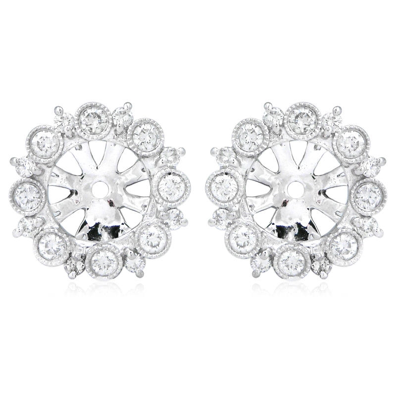 53ct Diamond Antique Style 18k White Gold Earring Jackets