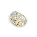 Simon G Diamond Antique Style 18k Two Tone Gold Floral Wedding Band Ring