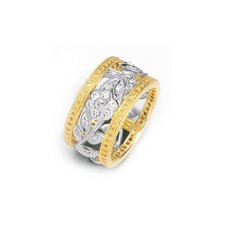 .92ct Simon G Diamond Antique Style 18k Two Tone Gold Floral Wedding Band Ring