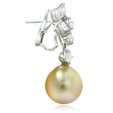 1.84ct Diamond & South Sea Pearl 18k White Gold Dangle Earrings