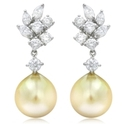 Diamond & South Sea Pearl 18k White Gold Dangle Earrings