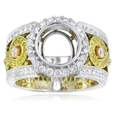 1.20ct Diamond Antique Style 18k Two Tone Gold Halo Engagement Ring Setting