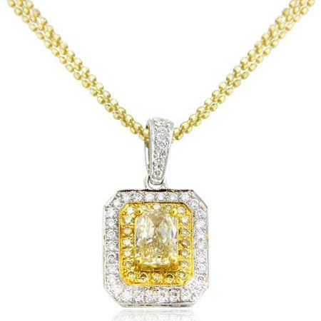 Diamond Antique Style 18k Two Tone Gold Pendant