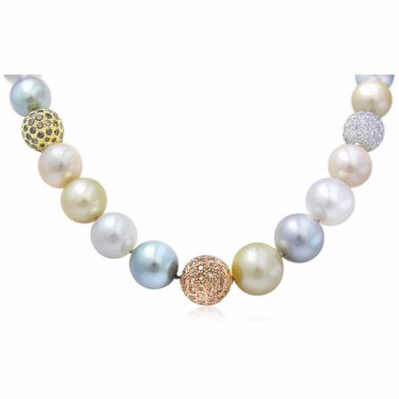 Diamond & South Sea Pearl 18k Three Tone Gold Graduated Necklace