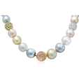 9.02ct Diamond & South Sea Pearl 18k Three Tone Gold Graduated Necklace