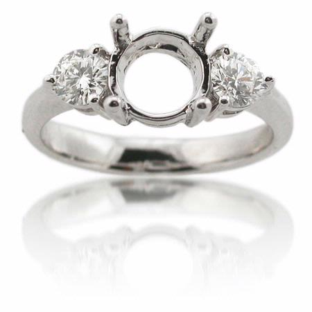 Diamond 18k White Gold Engagement Ring Mounting