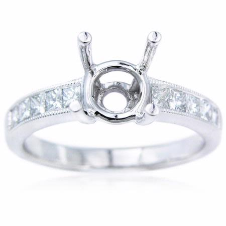 .44ct Diamond Antique Style Platinum Engagement Ring Setting