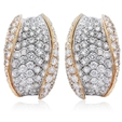 5.43ct Diamond 18k Two Tone Gold Cluster Earrings