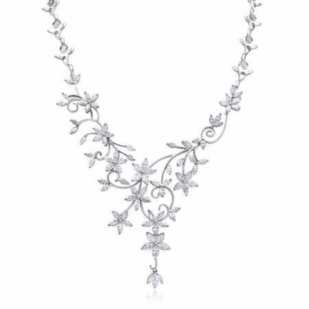 Diamond 18k White Gold Floral Necklace