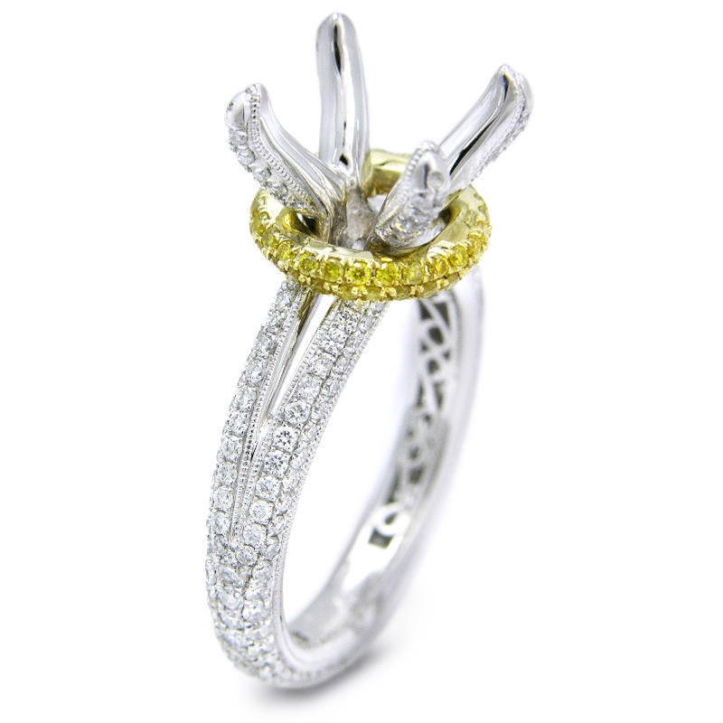 1 24ct antique style platinum and 18k yellow gold