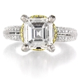 1.24ct Diamond Antique Style Platinum and 18k Yellow Gold Engagement Ring Setting