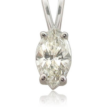 Diamond Solitaire 14k White Gold Pendant