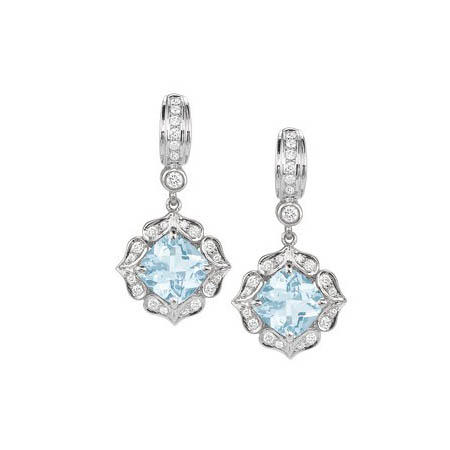 Charles Krypell Diamond and Aquamarine 18k White Gold Dangle Earrings