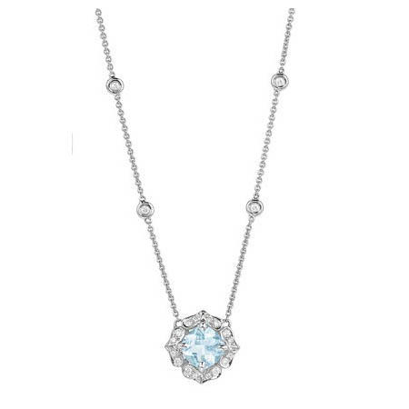 Charles Krypell Diamond and Aquamarine 18k White Gold Pendant Necklace