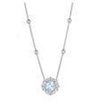 .55ct Charles Krypell Diamond and Aquamarine 18k White Gold Pendant Necklace