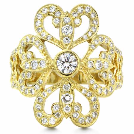 Chad Allison Couture Diamond Antique Style 18k Yellow Gold Ring