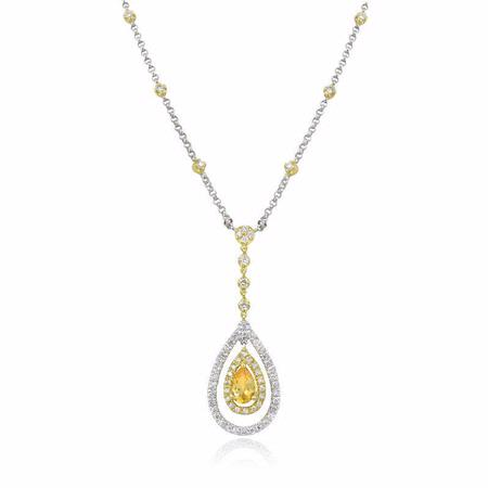 Natalie K Diamond and Citrine 18k Two Tone Gold Necklace