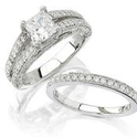 Natalie K Diamond Platinum Engagement Ring Setting and Wedding Band Set
