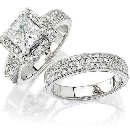natalie k diamond platinum halo engagement ring setting and wedding band set - Platinum Wedding Ring Sets