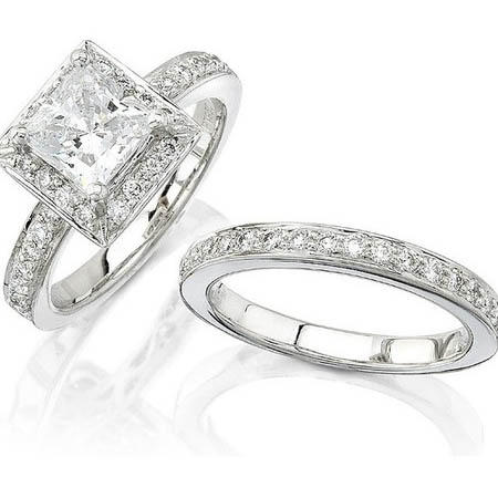 Natalie K Diamond Platinum Halo Engagement Ring Setting and Wedding Band Set