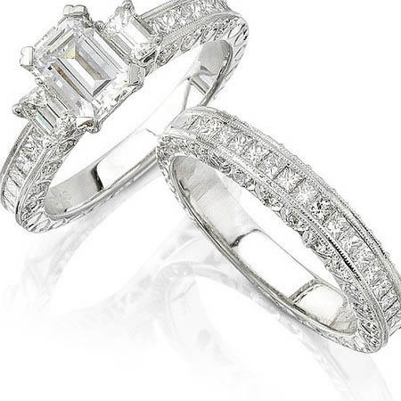 natalie k diamond antique style platinum engagement ring setting and wedding band set - Platinum Wedding Ring Sets
