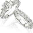 Natalie K Diamond Antique Style Platinum Engagement Ring Setting and Wedding Band Set