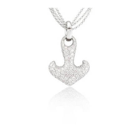 275ct leo pizzo diamond 18k white gold anchor pendant necklace aloadofball Choice Image