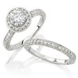 Natalie K Diamond Antique Style 18k White Gold Halo Engagement Ring Setting and Wedding Band Set