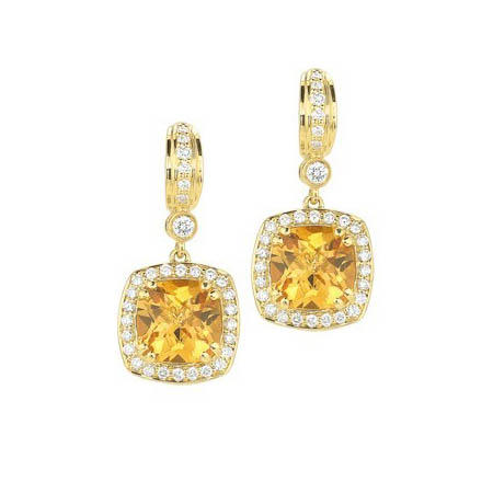 Charles Krypell Diamond and Citrine 18k Yellow Gold Dangle Earrings