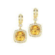 2.91ct Charles Krypell Diamond and Citrine 18k Yellow Gold Dangle Earrings