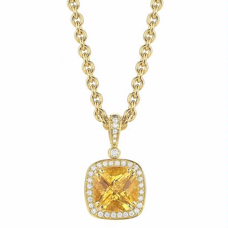 Charles Krypell Diamond and Citrine 18k Yellow Gold Pendant Necklace