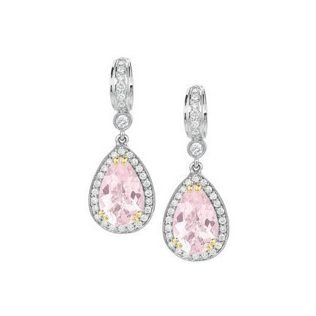 Charles Krypell Diamond and Morganite 18k Two Tone Gold Dangle Earrings