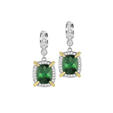 .65ct Charles Krypell Diamond, Yellow Sapphire and Green Tourmaline 18k Two Tone Gold Dangle Earrings