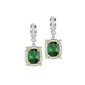 Charles Krypell Diamond, Yellow Sapphire and Green Tourmaline 18k Two Tone Gold Dangle Earrings