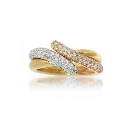 Leo Pizzo Diamond 18k Three Tone Gold Ring