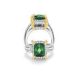 1.10ct Charles Krypell Diamond, Yellow Sapphire and Green Tourmaline 18k Two Tone Gold Ring