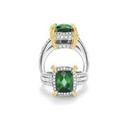 Charles Krypell Diamond, Yellow Sapphire and Green Tourmaline 18k Two Tone Gold Ring