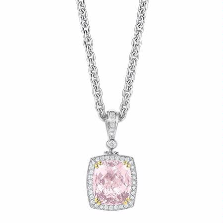 Charles Krypell Diamond and Morganite 18k Two Tone Gold Pendant Necklace