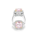 Charles Krypell Diamond and Morganite 18k White Gold Ring