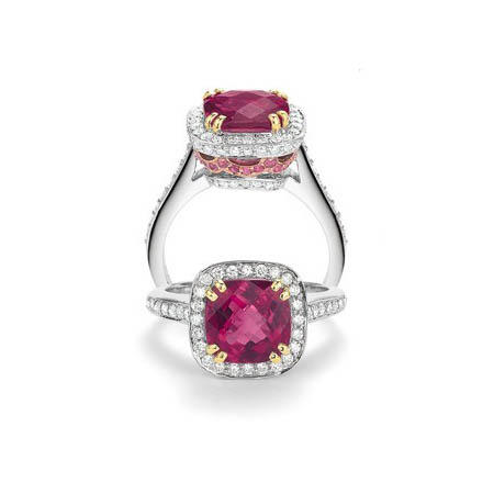 Charles Krypell Diamond, Pink Sapphire and Rubellite 18k Two Tone Gold Ring