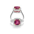 .80ct Charles Krypell Diamond, Pink Sapphire and Rubellite 18k Two Tone Gold Ring