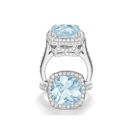 Charles Krypell Diamond and Aquamarine 18k White Gold Ring
