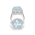 1.50ct Charles Krypell Diamond and Aquamarine 18k White Gold Ring