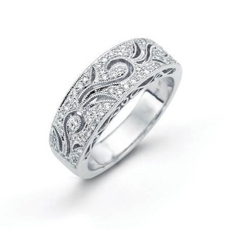 29ct Simon G Diamond Antique Style 18k White Gold Wedding Band Ring